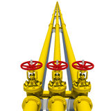 Three yellow pipes with valves Stock Photography