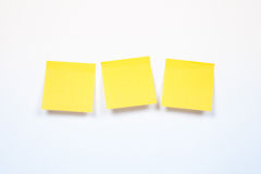 Three yellow sticker on a white background, Stock Photography