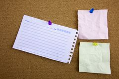 Three yellow sticky note reminders on a white background. With background Royalty Free Stock Photo