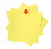 Three yellow sticky notes Stock Photo