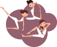 Three yoga girls Royalty Free Stock Image