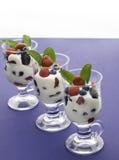Three yogurt fruit Royalty Free Stock Image