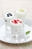 Three yogurt with fruit in a glass beaker vertical Stock Images