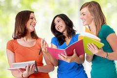 Three young asian student studying Stock Photos