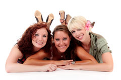 Three young attractive women Royalty Free Stock Photos