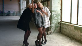Three young beautiful girl in expensive fur to stock footage