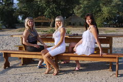 Three young beautiful girls Royalty Free Stock Images
