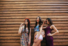 Three young beautiful girls. Three beautiful girls pose in front of a wooden wall Stock Image