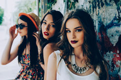 Three young beautiful girls Stock Images