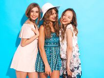 Three Young Beautiful Hipster Girls In Trendy Clothes In Studio Royalty Free Stock Image