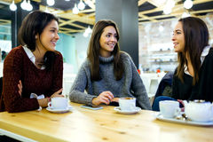 Three young beautiful women drinking coffee at cafe shop. Stock Image