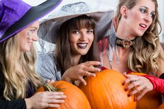 Three beautiful women acting as witches joining their malicious forces. Three young and beautiful women wearing funny party costumes while acting as witches Royalty Free Stock Photography