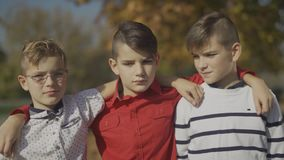 Three young boys embracing in the park. Little brothers spending time together outdoors. stock footage