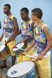 Three Young Brazilian Men Drumming Pelhourinho Salvador Royalty Free Stock Photos