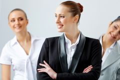 Three young business people laughing Royalty Free Stock Photos