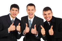 Three young businessmen show gesture ok Royalty Free Stock Images