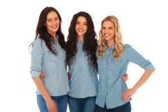 Three young casual women having fun together Royalty Free Stock Photos