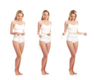 Three young Caucasian women in white lingerie Royalty Free Stock Photo
