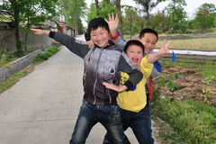 Pengzhou, China: Trio of Young Chinese Boys Royalty Free Stock Photography