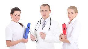 Three young doctors in white coats Royalty Free Stock Image