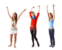 Three young excited girls. Stock Photo