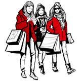 Three young fashionable women shopping. Vector illustration stock illustration