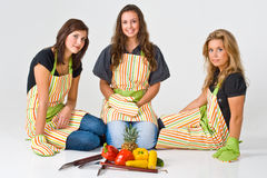 Three Young Female Chefs Royalty Free Stock Photos