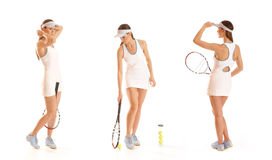 Three young female tennis players with equipment Stock Images