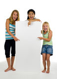 Three Young Females With White Board Royalty Free Stock Photos
