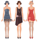Three young flapper women of 1920s Stock Photography