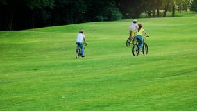 Three young friends cycling in park. stock video