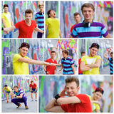 Three young friends happy. Collage of images happy teens boy with his friends by painted wall looking at camera Royalty Free Stock Photo