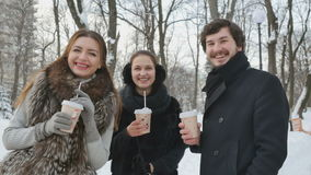 Three young friends talking and drinks coffee in the winter park. Handsome young man and two pretty women stand in the winter park among the snow-covered trees stock video