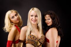 Three young girl look at you Royalty Free Stock Image
