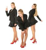 Three young girl in suit, collage. Three young girl in suit on white, collage Stock Photography