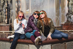 Three young girls Royalty Free Stock Images