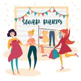 Three young girls at fashion swap party. Exchange vector illustration