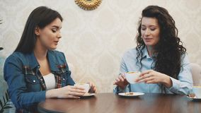 Three young girls sit in a coffee shop and talk. During this time, enjoy cappuccino. Happy to spend time together. Three young girls sit in a coffee shop and stock video