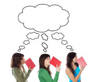 Three young girls thinking with books royalty free stock image