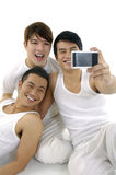 Three  Young happy man Stock Photos
