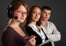 Three young happy and successful businesspeople Stock Image