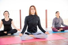 Three women in meditation at a yoga class Royalty Free Stock Image