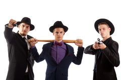 Three young mafiosos Stock Images