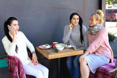 Three young magnificent girl girlfriends chatter, gossiping, sha Royalty Free Stock Photo