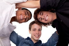 Three young man of different colors Stock Photo