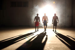 Three young men boxing workout in an old building.  royalty free stock photos