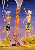 Three young men conjure with wind and fire, one plays the flute stock image