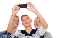 Three young men take on self Royalty Free Stock Photography