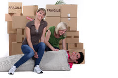 Three young people moving Stock Image