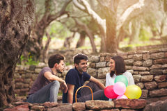 Three young people on picnic sitting on blanket under the olive Stock Photos